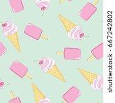 ice cream  pattern  vector ... | Shutterstock .eps vector #667242802