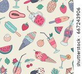 seamless pattern with hand... | Shutterstock .eps vector #667243906