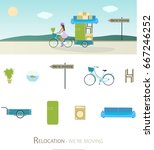 relocation. girl on bike with... | Shutterstock .eps vector #667246252
