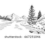 mountain river graphic black... | Shutterstock .eps vector #667251046