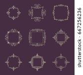 huge rosette wicker border...   Shutterstock . vector #667256236