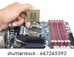 someone hand holding cpu show ... | Shutterstock . vector #667265392
