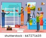urban home renovation flat... | Shutterstock .eps vector #667271635