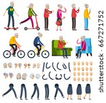 aged elderly people man woman... | Shutterstock .eps vector #667271752