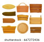 cartoon brown wooden plate and... | Shutterstock .eps vector #667272436