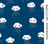 cute seamless pattern with... | Shutterstock .eps vector #667272598