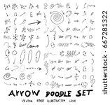 vector hand drawn arrows set | Shutterstock .eps vector #667281322
