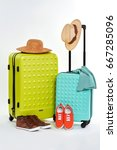 suitcases  hats  clothes  shoes.... | Shutterstock . vector #667285096