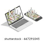 city isometric plan with road... | Shutterstock .eps vector #667291045