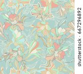tropical seamless pattern with... | Shutterstock .eps vector #667296892
