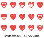 heart smiley icons set | Shutterstock .eps vector #667299886