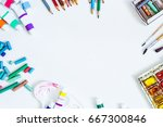 watercolor and brush  pastel ... | Shutterstock . vector #667300846