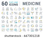set of line icons  sign in flat ... | Shutterstock . vector #667301218