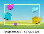 landscape background with... | Shutterstock .eps vector #667303126