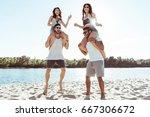 happy friends piggybacking and... | Shutterstock . vector #667306672