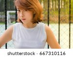 she has a beautiful and... | Shutterstock . vector #667310116
