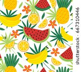 seamless pattern with tropical... | Shutterstock .eps vector #667310446