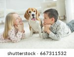 child with dog | Shutterstock . vector #667311532