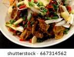 soft shell crab spicy salad. | Shutterstock . vector #667314562