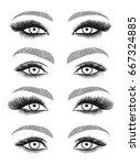 stylized decorative makeup set. ...   Shutterstock .eps vector #667324885