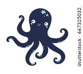 vector cute octopus... | Shutterstock .eps vector #667325032