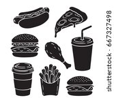 icons silhouettes of hamburger  ... | Shutterstock .eps vector #667327498