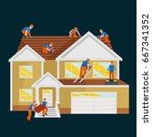 roof construction worker repair ...   Shutterstock .eps vector #667341352