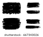 set of black paint  ink brush... | Shutterstock .eps vector #667343026