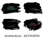 set of black paint  ink brush... | Shutterstock .eps vector #667343056