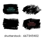 set of black paint  ink brush... | Shutterstock .eps vector #667345402
