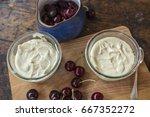 cheesecake mixture in a jar.... | Shutterstock . vector #667352272