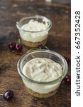 cheesecake mixture in a jar.... | Shutterstock . vector #667352428