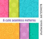 set of cute seamless bright... | Shutterstock .eps vector #667354078