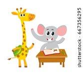 cute animal students   elephant ...   Shutterstock .eps vector #667356295