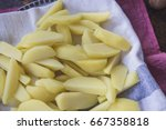 boiled potatoes  ready for... | Shutterstock . vector #667358818