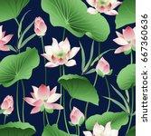 vector seamless pattern lotus... | Shutterstock .eps vector #667360636