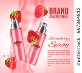 strawberry spray cosmetic ads.... | Shutterstock .eps vector #667364812