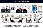 tattoo studio interior design ... | Shutterstock . vector #667384636