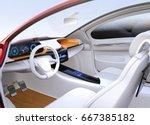 autonomous car interior concept.... | Shutterstock . vector #667385182