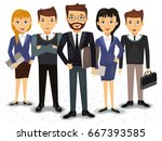 business team of employees and...   Shutterstock .eps vector #667393585