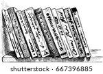 the printed books on a bookshelf | Shutterstock .eps vector #667396885