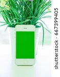 mobile phone with bank screen... | Shutterstock . vector #667399405