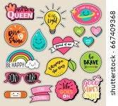 set of fashion patches  cute... | Shutterstock .eps vector #667409368