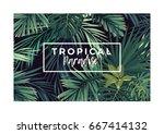 dark vector tropical typography ... | Shutterstock .eps vector #667414132