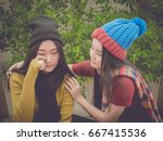 young girl cry and her friend... | Shutterstock . vector #667415536