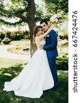 wonderful wedding couple in the ... | Shutterstock . vector #667424476