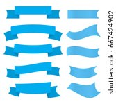 set of blue ribbons isolated on ... | Shutterstock .eps vector #667424902
