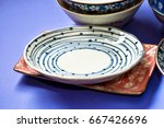 ceramic saucers with patterns   Shutterstock . vector #667426696