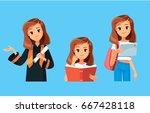 girl student. graduated student.... | Shutterstock .eps vector #667428118