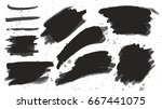 set of black paint  ink brush... | Shutterstock .eps vector #667441075